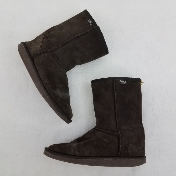 a7bbcd2d2eb Emu Boots Brown 9 Merino Wool Suede Leather Purple